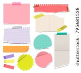 set of colorful torn note... | Shutterstock .eps vector #795681538