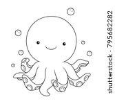 black and white cute cartoon...   Shutterstock .eps vector #795682282