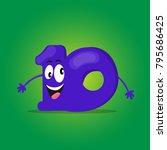 cartoon number ten with face ... | Shutterstock .eps vector #795686425