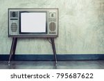 retro old television on the... | Shutterstock . vector #795687622