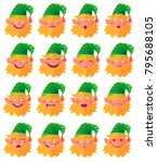 set of emotional expressions of ... | Shutterstock .eps vector #795688105