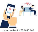 send or receive love sms ... | Shutterstock .eps vector #795691762