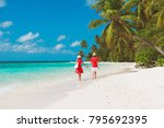 happy loving couple walking on... | Shutterstock . vector #795692395