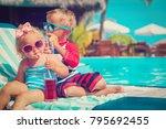 little boy and toddler girl... | Shutterstock . vector #795692455