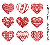 set of red hearts with cut... | Shutterstock .eps vector #795693355