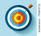 target icon in flat style on... | Shutterstock .eps vector #795693712