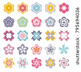Stock vector set of colorful abstract flowers 795694036
