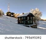 wooden cabin in winter scenery. ... | Shutterstock . vector #795695392