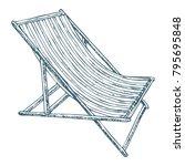 beach lounge chair on white... | Shutterstock .eps vector #795695848