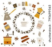 collection of coffee vector... | Shutterstock .eps vector #795699565