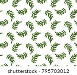 watercolor palm leaves seamless ... | Shutterstock . vector #795703012