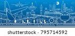airport illustration. aviation... | Shutterstock .eps vector #795714592