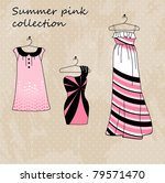 set of three dresses in pink... | Shutterstock .eps vector #79571470