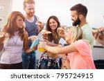 group of happy friends having... | Shutterstock . vector #795724915