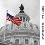 Stock photo united states capitol building in washington dc in black white and american flag in color 79572889