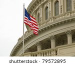 Stock photo united states capitol building in washington dc with american flag 79572895