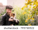 retro look   man with beard and ... | Shutterstock . vector #795730522
