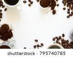 background with assorted coffee ... | Shutterstock . vector #795740785