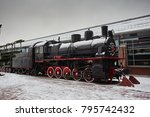 old black steam trains at the... | Shutterstock . vector #795742432