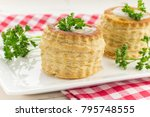 puff pastry vol au vents filled ... | Shutterstock . vector #795748555