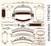 vintage frames and scroll... | Shutterstock .eps vector #795748762