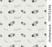 fashion pattern with watch... | Shutterstock .eps vector #795751546