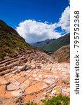 maras salt ponds in peru  south ... | Shutterstock . vector #795752368