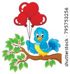 bird with heart shaped balloons ... | Shutterstock .eps vector #795753256
