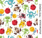 cartoon robot vector seamless... | Shutterstock .eps vector #795754042