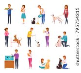 Stock vector people with pets isolated icons set of owners training feeding playing grooming their pets and 795754315