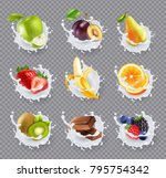 set of realistic milk splashes... | Shutterstock .eps vector #795754342