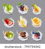 set of realistic milk splashes... | Shutterstock .eps vector #795754342