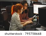 two female programmers working... | Shutterstock . vector #795758668