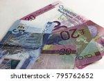scottish banknotes on white... | Shutterstock . vector #795762652