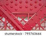 Detail Of Old Red Metal Bridge...