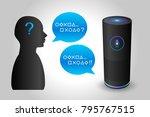 voice control smart speaker...   Shutterstock .eps vector #795767515
