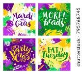 set of mardi gras lettering... | Shutterstock .eps vector #795768745