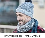 aged man in winter hat and... | Shutterstock . vector #795769576