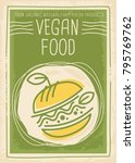 vegan food promotional banner... | Shutterstock .eps vector #795769762