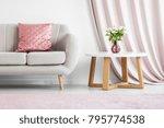 pink pillow on beige sofa next... | Shutterstock . vector #795774538