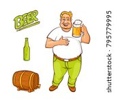 vector cartoon beer lover  ... | Shutterstock .eps vector #795779995