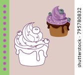 sweets coloring page for... | Shutterstock .eps vector #795780832