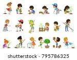 kids gardening illustrations set | Shutterstock .eps vector #795786325
