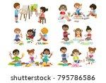 kids creativity practice | Shutterstock .eps vector #795786586