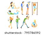 young people using gadgets | Shutterstock .eps vector #795786592