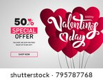 valentine s day sale template... | Shutterstock .eps vector #795787768