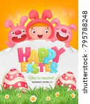 happy easter template with girl ... | Shutterstock .eps vector #795788248