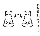 zen cats cartoon drawing. cute... | Shutterstock .eps vector #795789772
