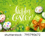 vector card with realistic 3d... | Shutterstock .eps vector #795790672