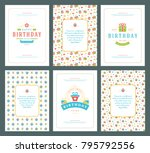 happy birthday greeting cards... | Shutterstock .eps vector #795792556